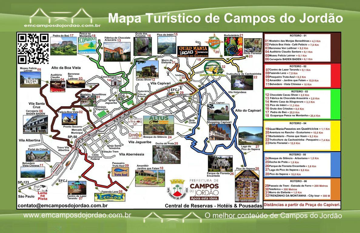 Mapa de passeios de Campos do Jordão: clique e confira os roteiros
