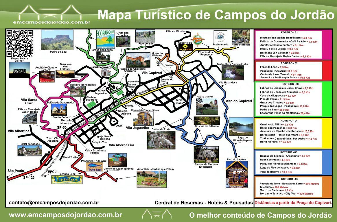 Mapa de passeios de Campos do Jordão: clique e confira as dicas